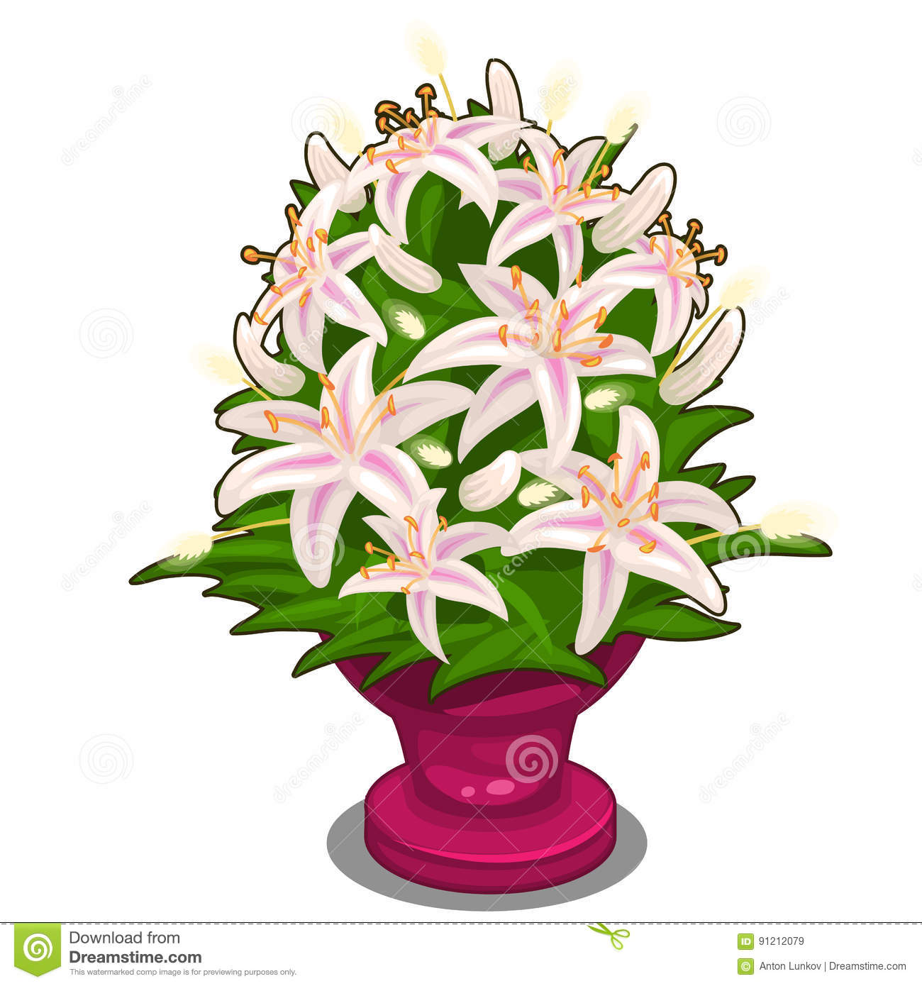 Bouquet of pink flowers in vase vector isolated stock vector bouquet of pink flowers in vase vector illustration in cartoon style on white background image isolated for your design needs mightylinksfo