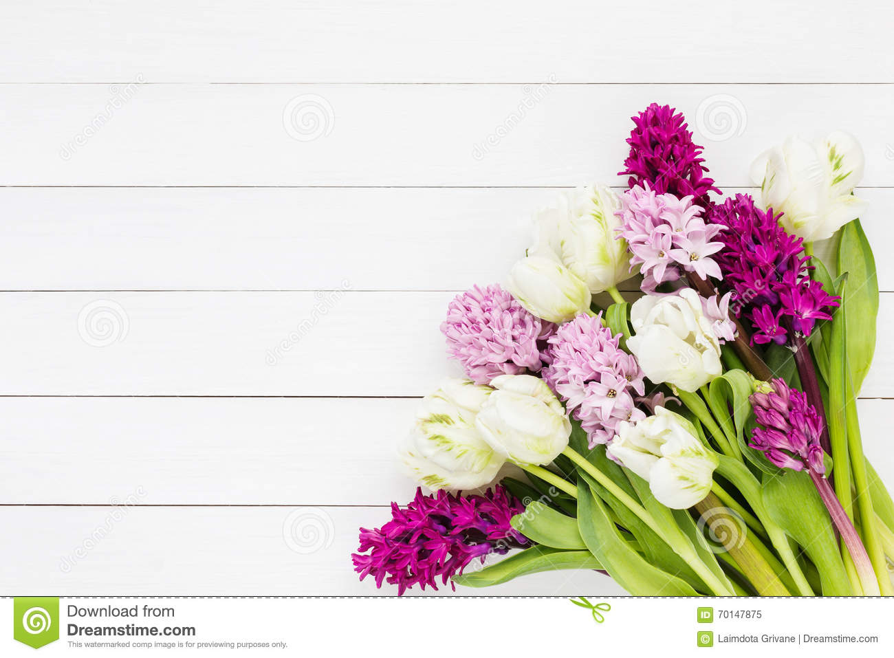 Bouquet of pink hyacinth flowers and white tulips on white wooden background bouquet flowers hyacinth dhlflorist Choice Image