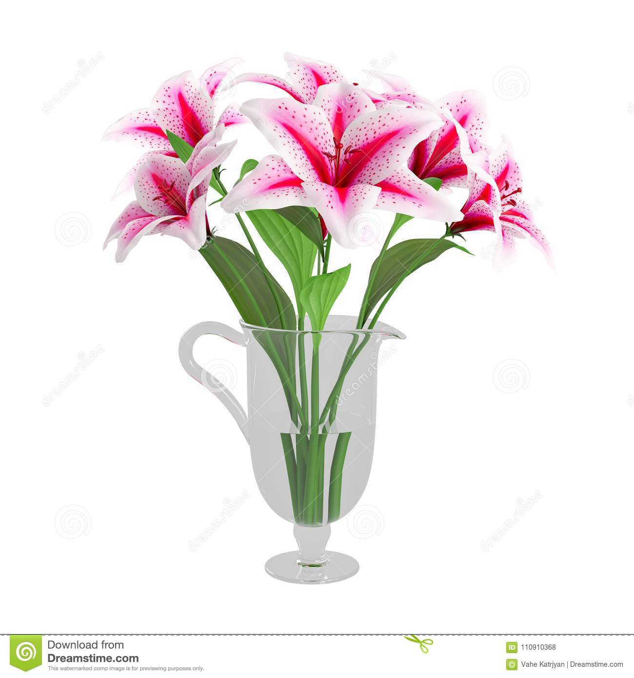 Bouquet of pink lilies flower in glass vase stock illustration bouquet of pink lilies flower in glass vase izmirmasajfo