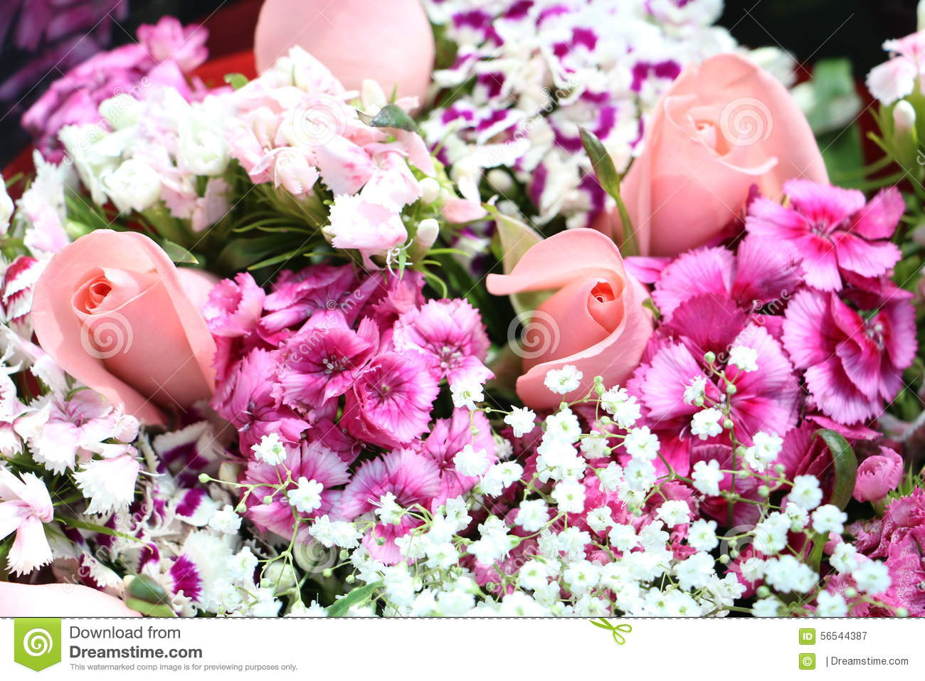 Bouquet Of Pink And Purple Flowers Stock Image Image Of Floral