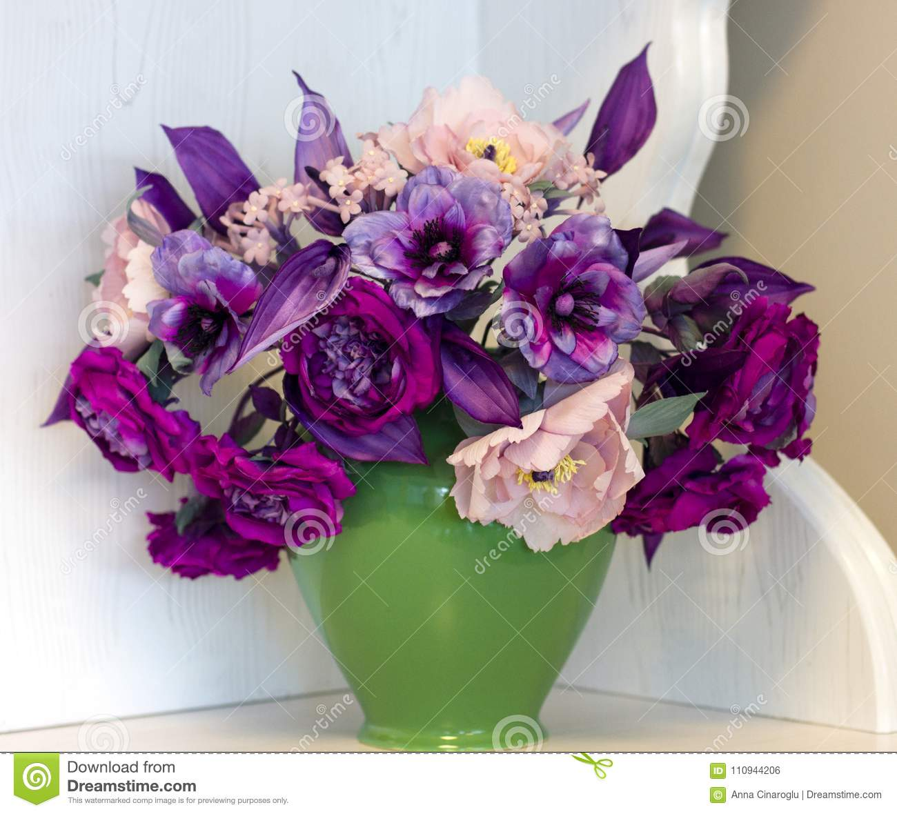 Bouquet Of Pink And Purple Peonies Artificial Flowers Made Of S Stock Photo Image Of Card Detail 110944206