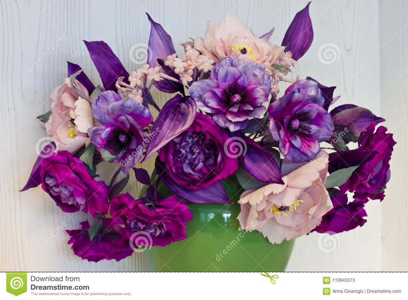 Bouquet of pink and purple peonies artificial flowers made of s bouquet of pink and purple peonies artificial flowers made of silk in the black vase mightylinksfo