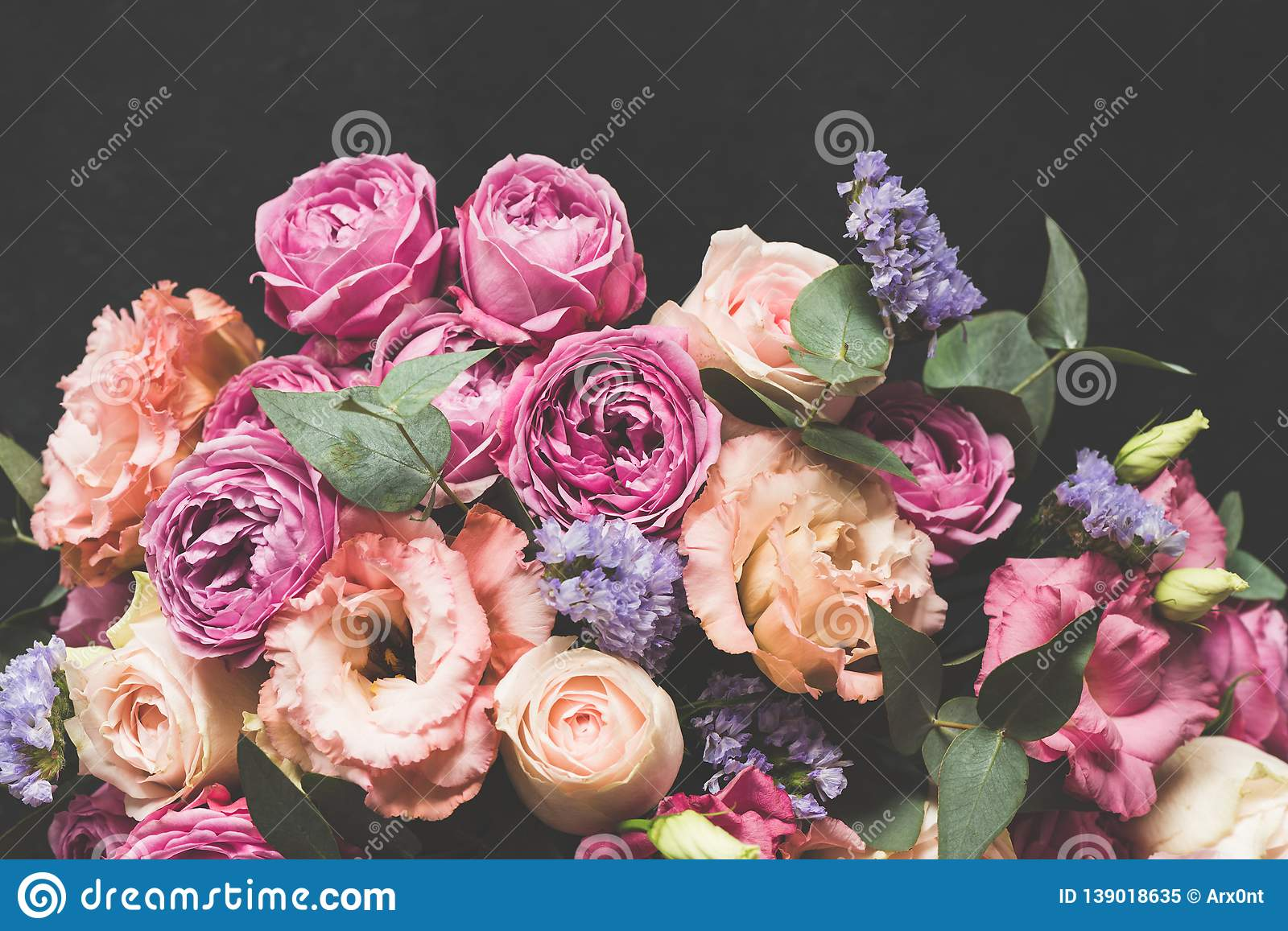 Bouquet Of Pink And Purple Peonies With Eucalyptus Stock Image Image Of Colorful Card 139018635