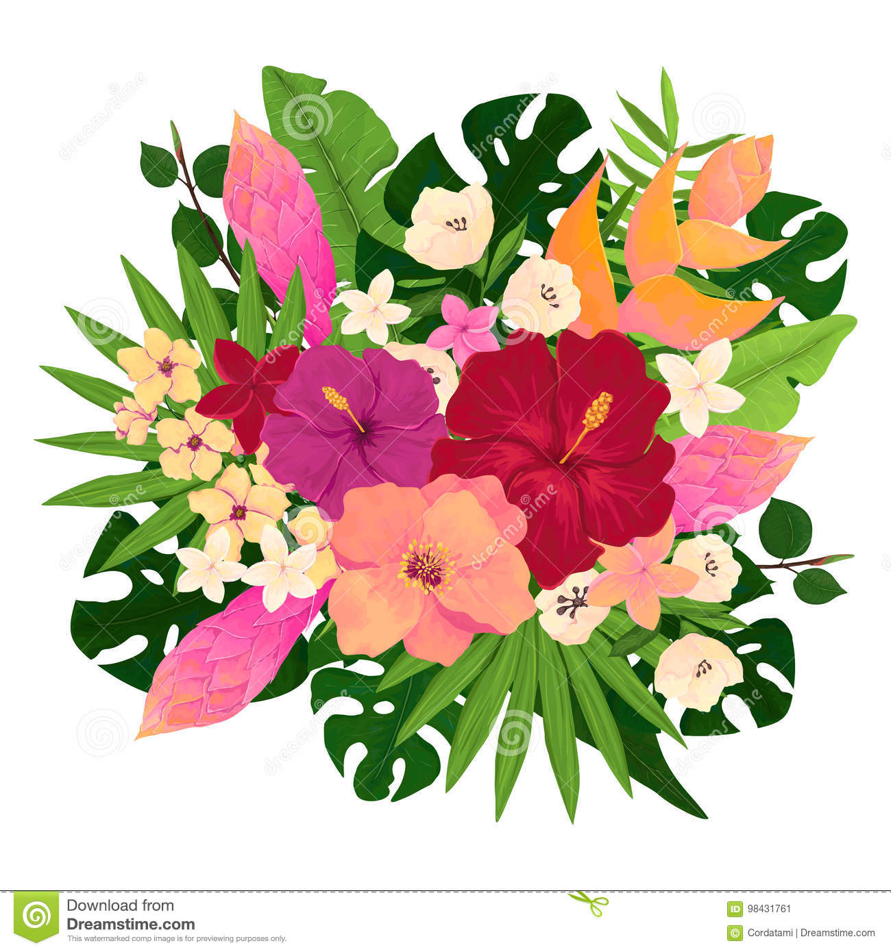 Bouquet with pink red and yellow flowers stock illustration download bouquet with pink red and yellow flowers stock illustration illustration of nature mightylinksfo