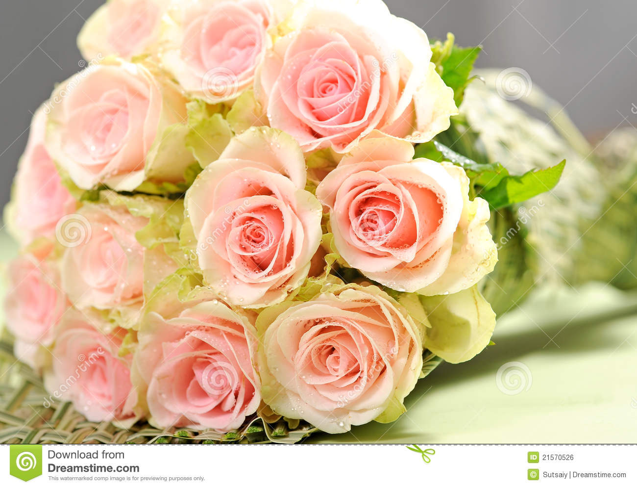 Bouquet With Pink Roses Stock Photo Image Of Elegant 21570526