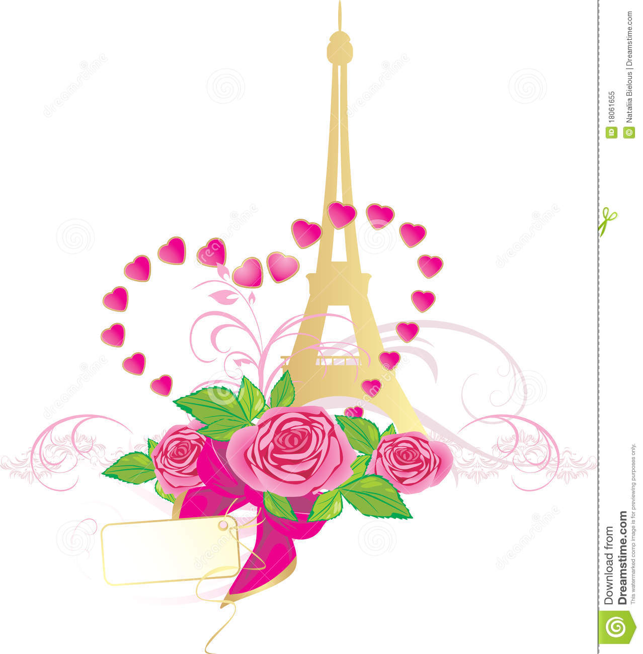 Bouquet Of Pink Roses And Eiffel Tower Royalty Free Stock ...