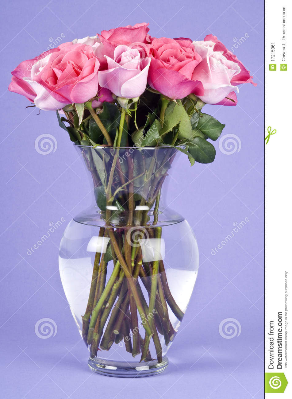 Bouquet Of Pink Roses In A Glass Vase Stock Image Image