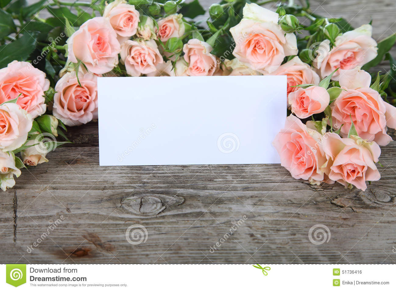 Bouquet Of Pink Roses And Greeting Card Stock Photo