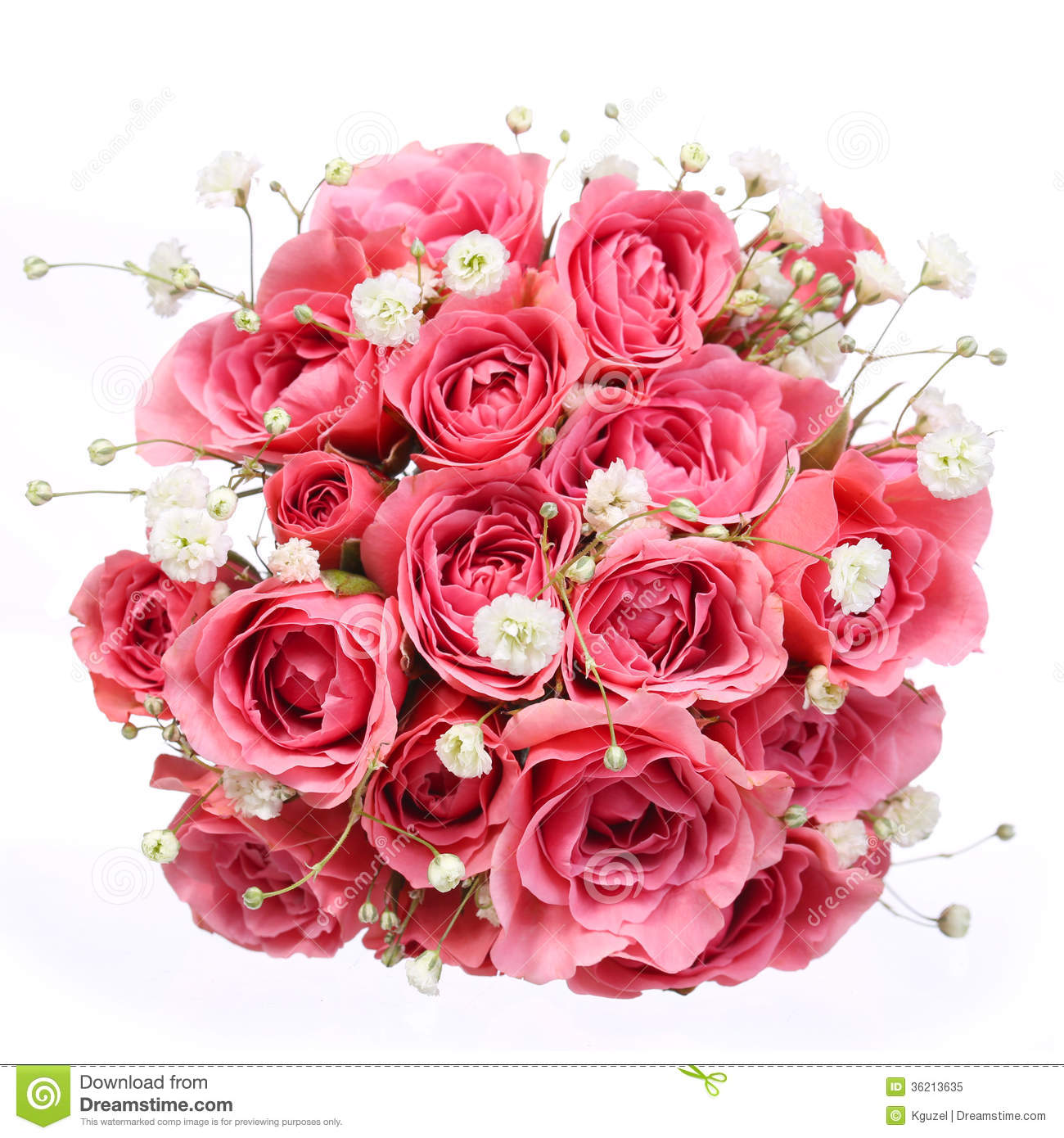 Bouquet Of Pink Roses Isolated On White Background Bridal