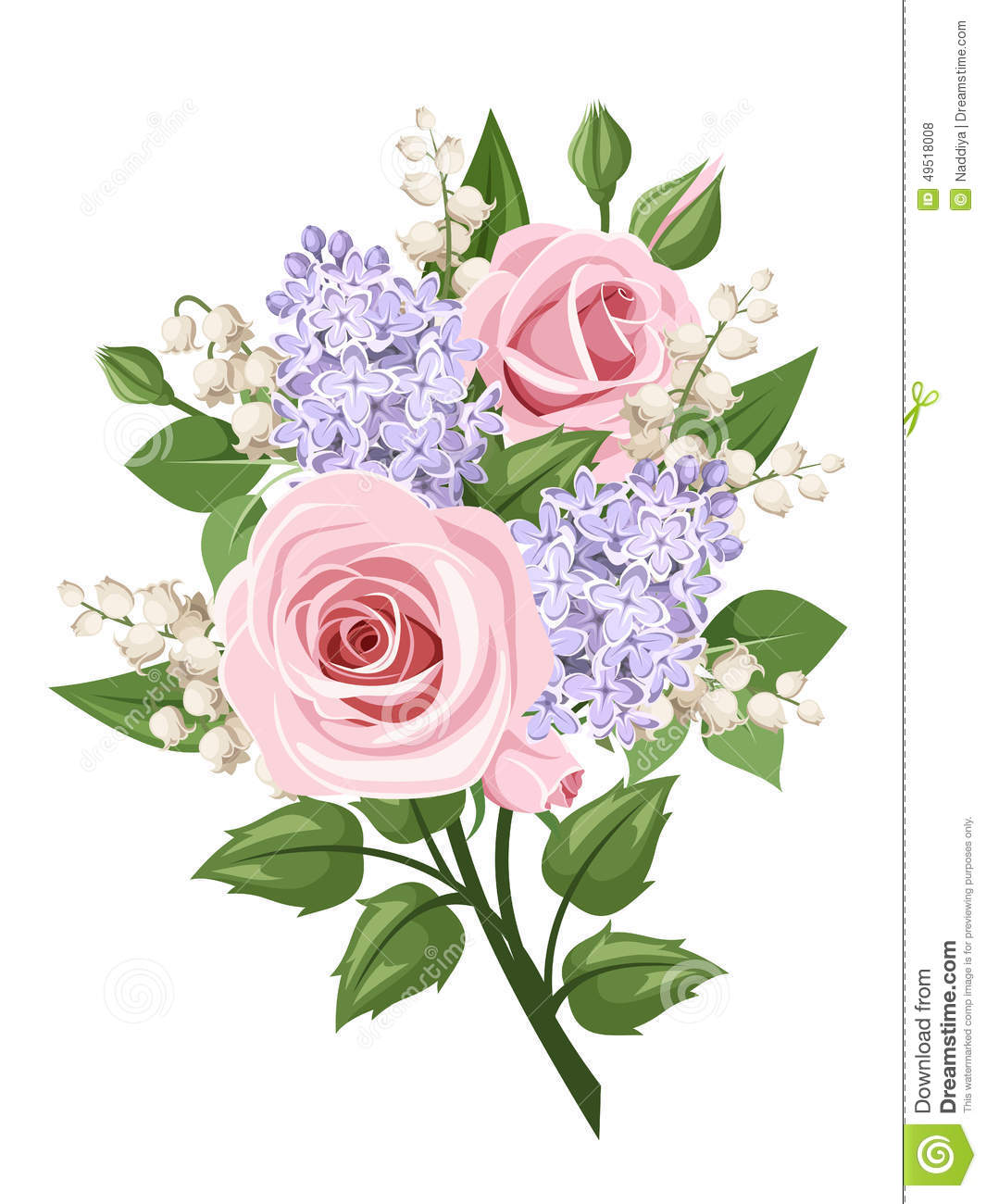 Bouquet with pink roses lily of the valley and lilac flowers bouquet with pink roses lily of the valley and lilac flowers vector illustration izmirmasajfo