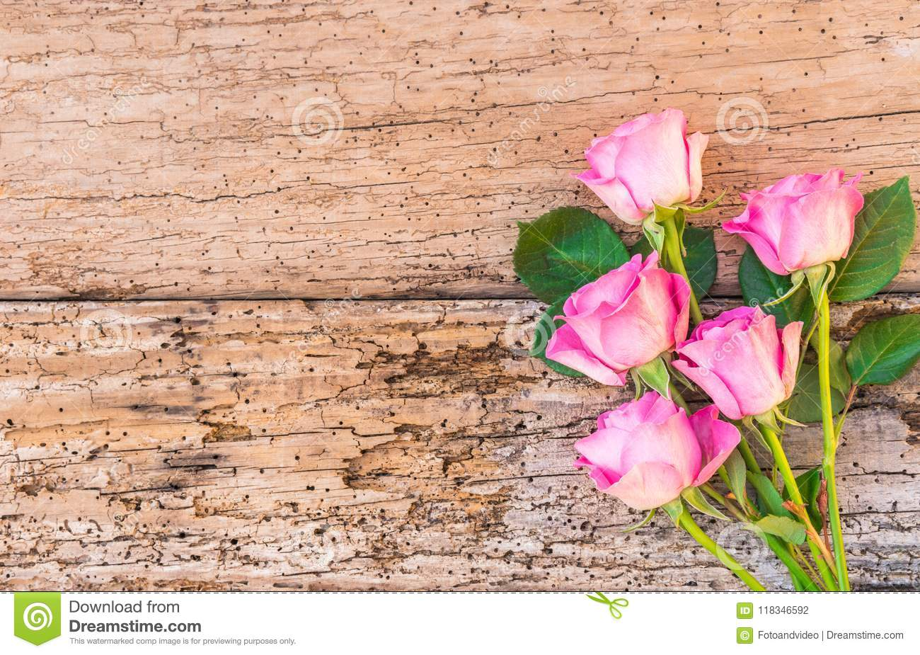 Bouquet Of Pink Roses On Old Wood Romantic Flowers Background For Birthday Or Valentine Card Stock Photo Image Of Beauty Blossom 118346592