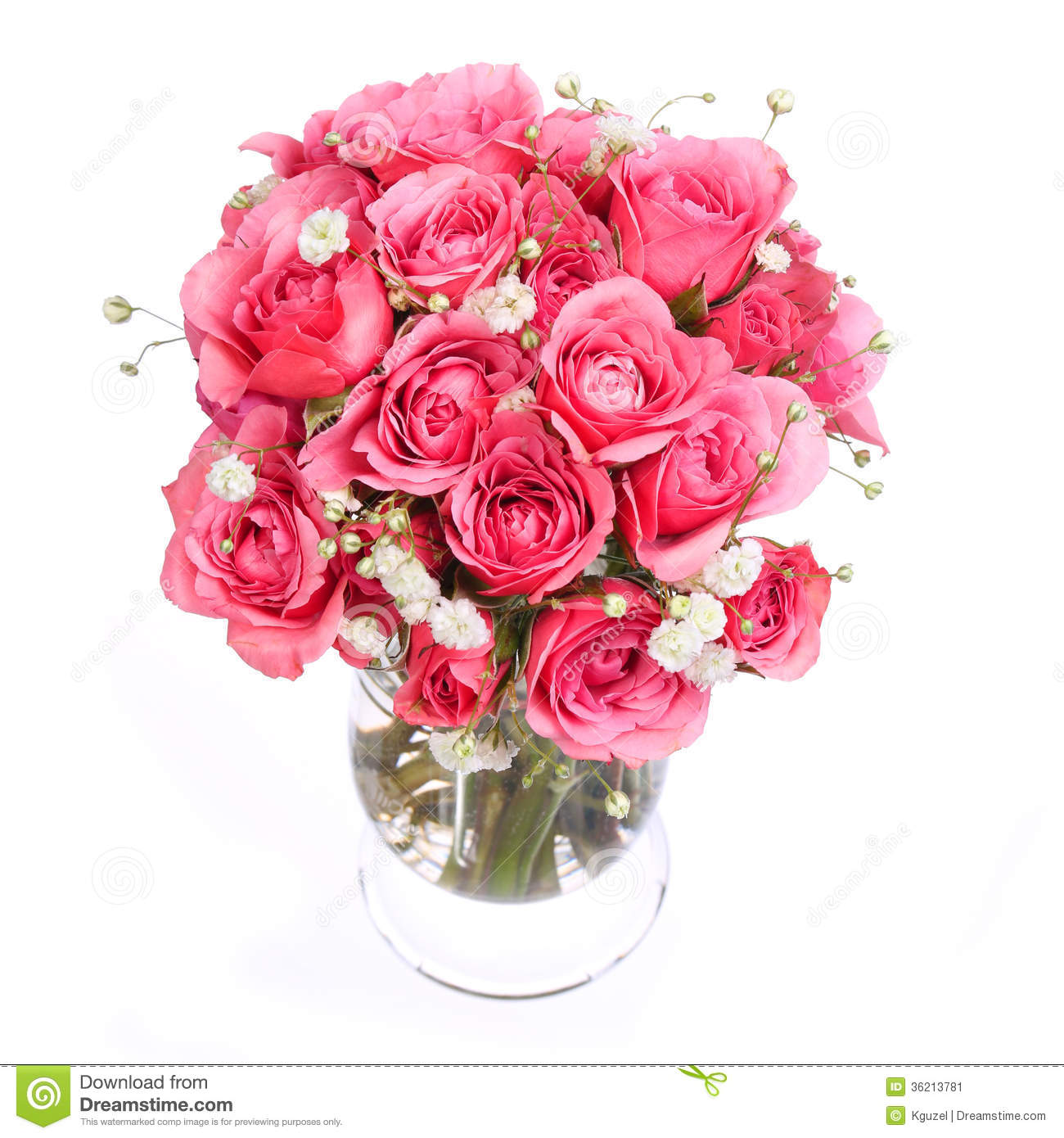Bouquet Of Pink Roses In Vase Isolated On White Background ...