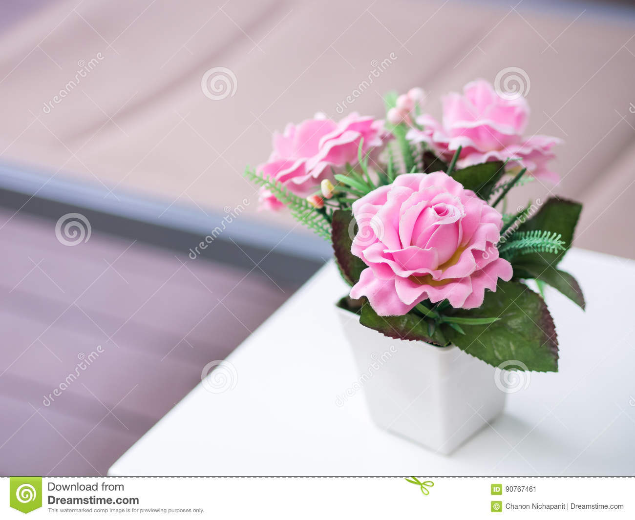 Bouquet Pink Roses In The White Vase Artificial Or Fake Flowers