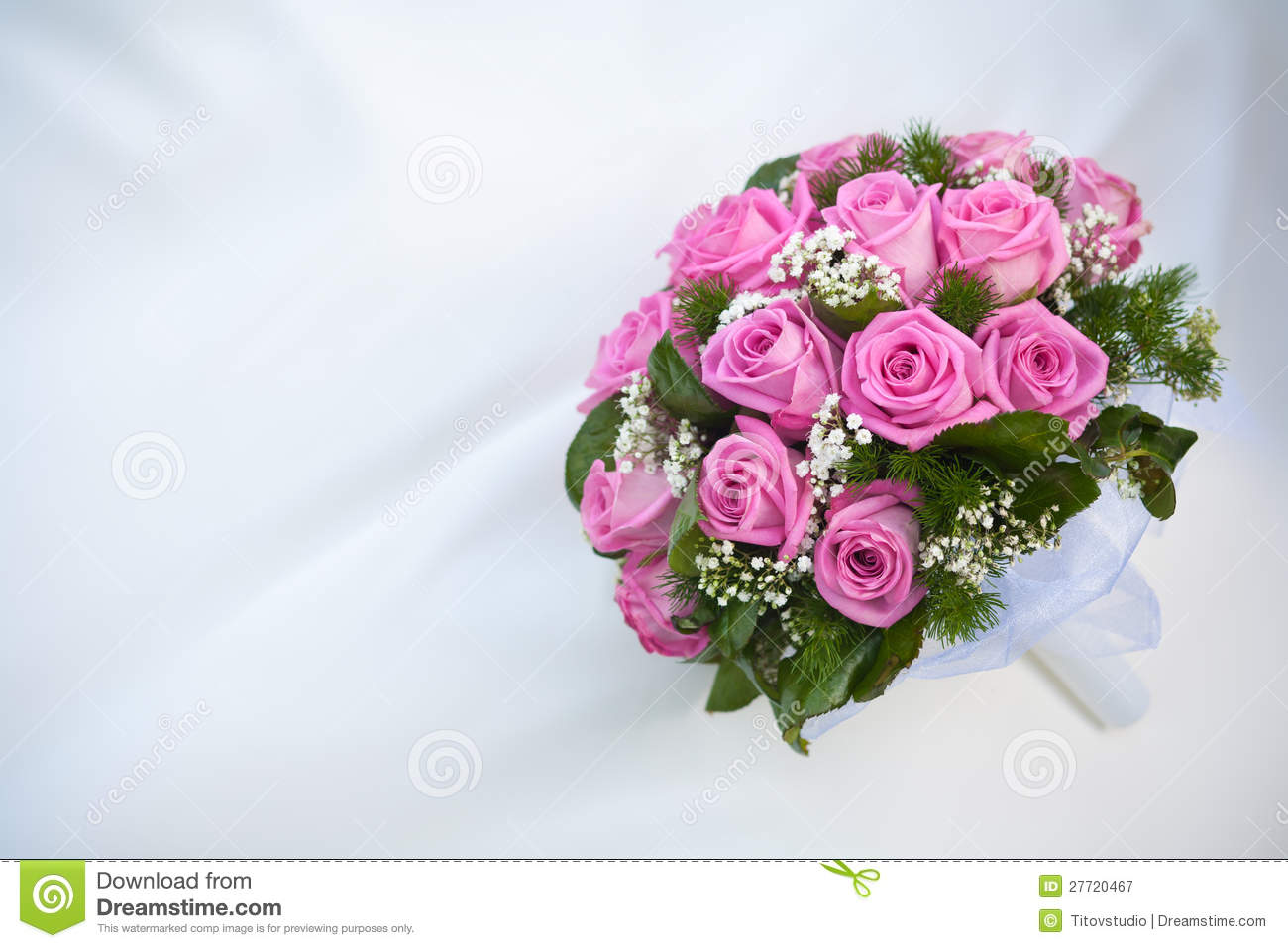 Bouquet Of Pink Roses On The White Wedding Dress Stock Image Image