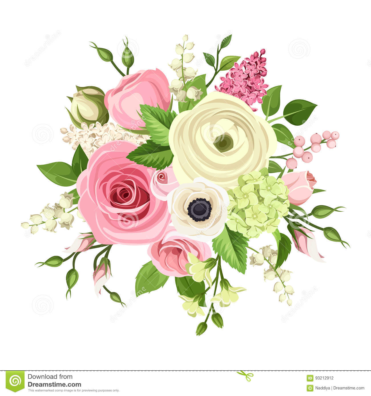 Bouquet Of Pink And White Flowers Vector Illustration Stock Vector