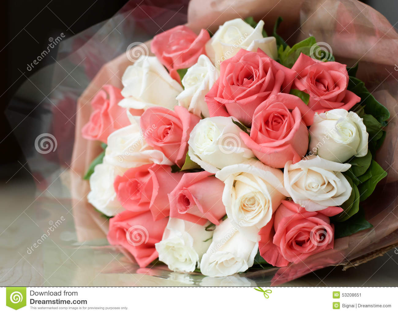 Bouquet Pink And White Roses Flower Stock Image Image Of Bloom