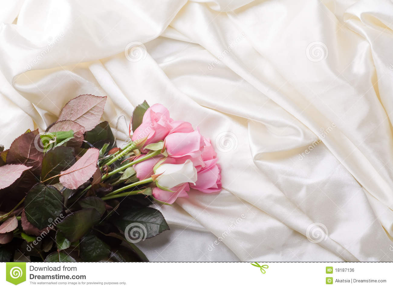 Bouquet Of Pink And White Roses Laying In Silk Stock Photo Image