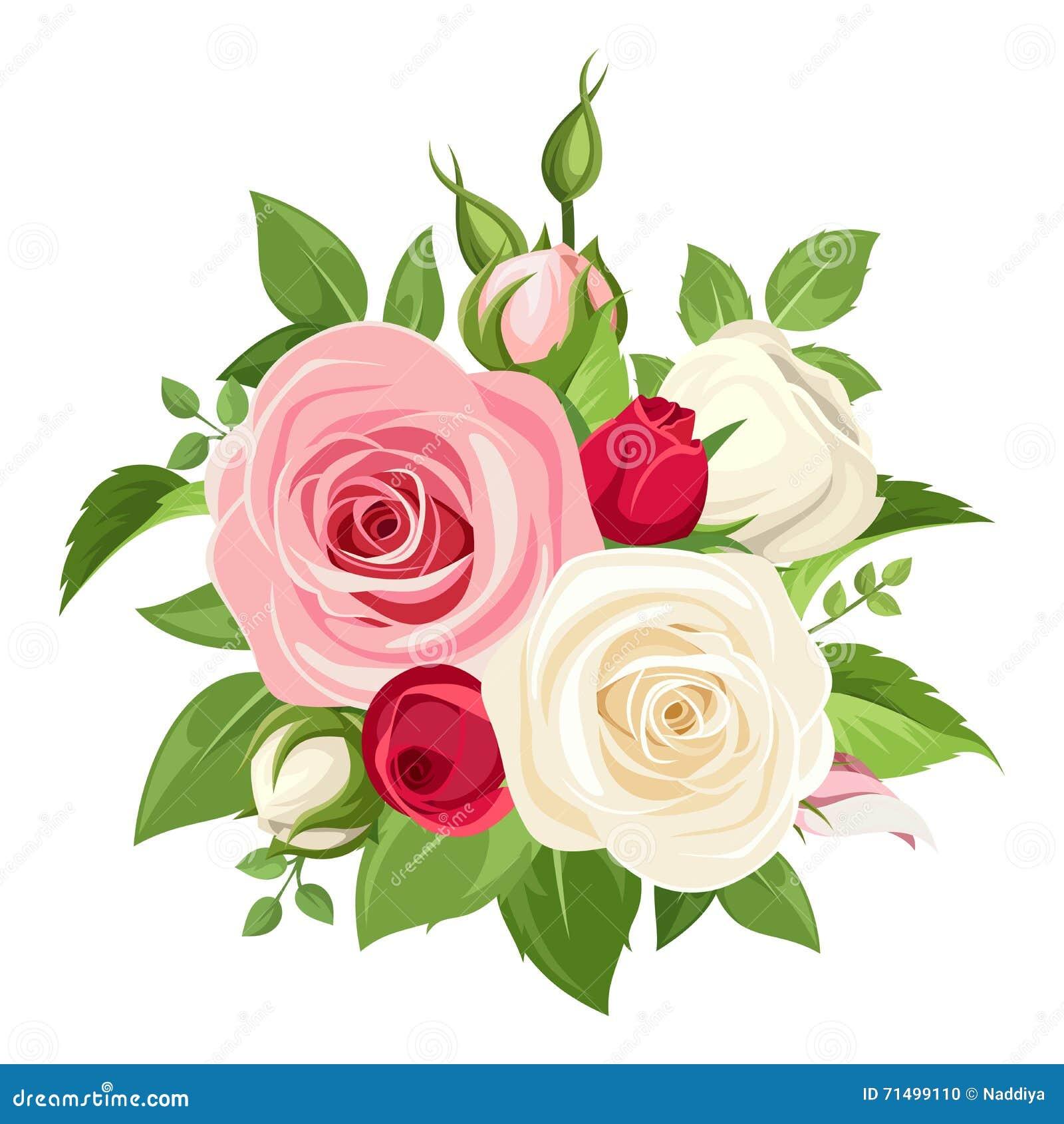 Bouquet of pink and white roses vector illustration for Bouquet de fleurs jaunes