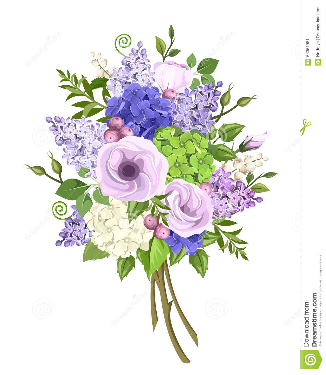Bouquet Of Purple Blue White And Green Flowers Vector