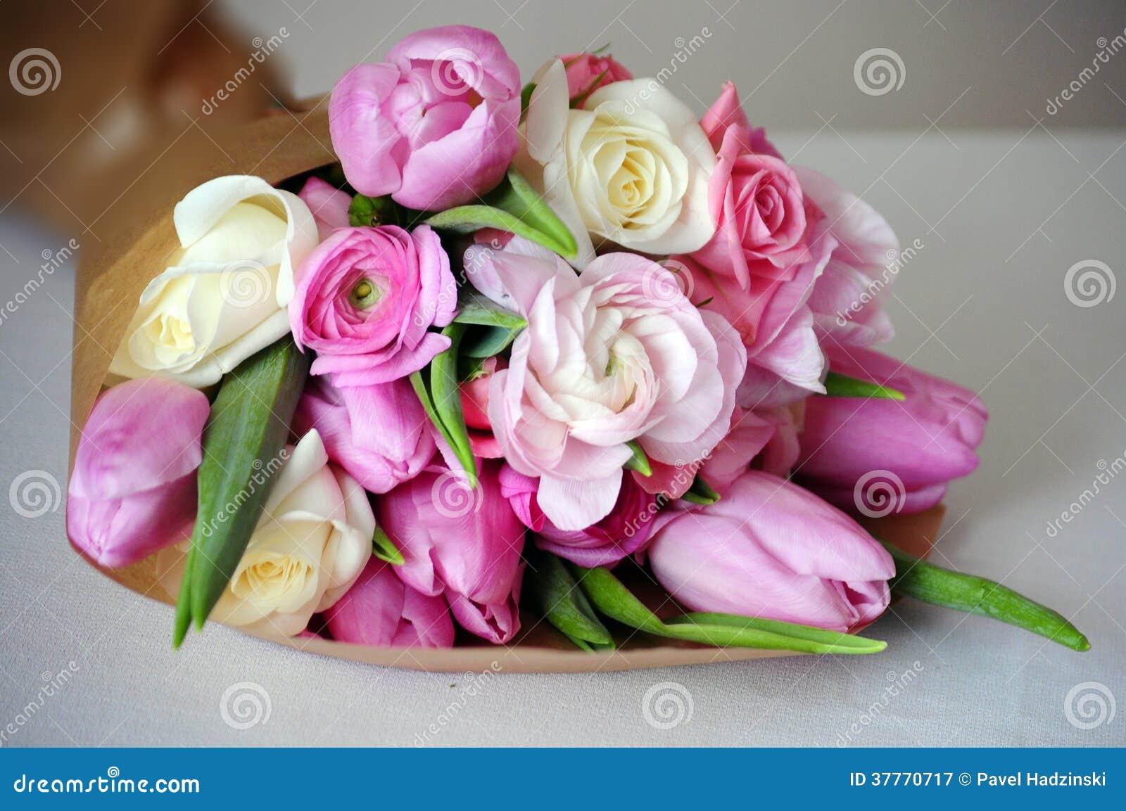 Bouquet Of Ranunculus Tulip Roses Stock Image Image Of Leaf Bloom 37770717