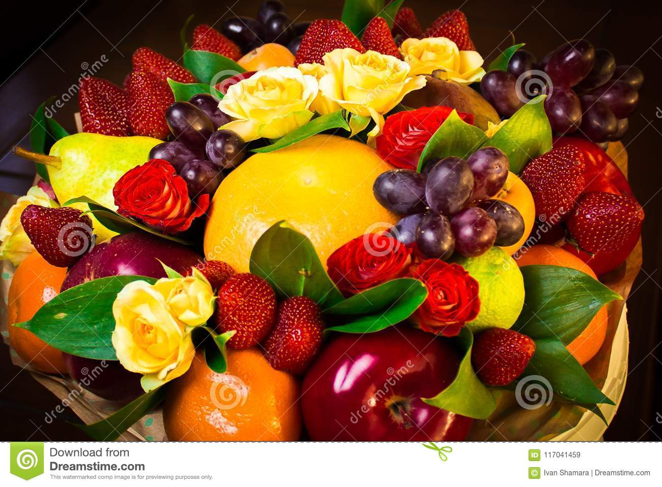 Bouquet with real flowers and fruits stock image image of apple bouquet with real flowers and fruits bucut with flowers and fruits is a very unique gift for the holiday izmirmasajfo