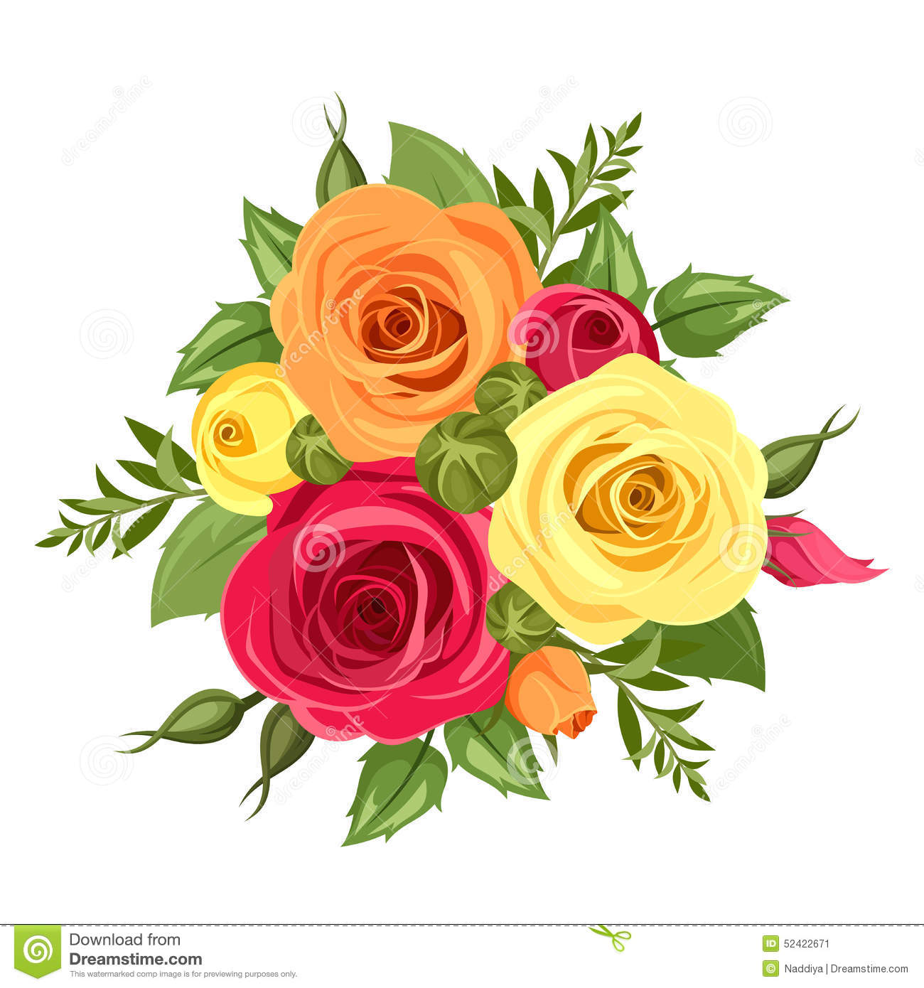 Flo Bouquet Of Red Orange And Yellow Flowers Vector