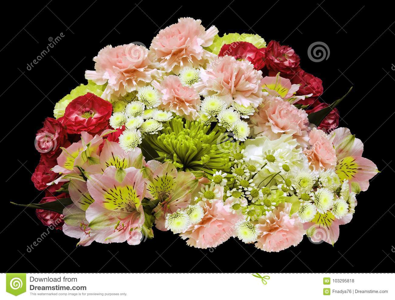 8b78ae0c2d7ea Bouquet of red-pink-yellow-white flowers on an isolated black background  with clipping path. no shadows. Closeup. Roses cloves chrysanthemum  chamomile ...