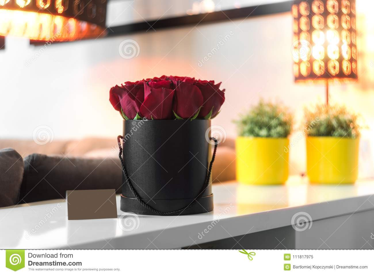 Bouquet Of Red Roses In Black Box Stock Image Image Of Paper Roses 111817975