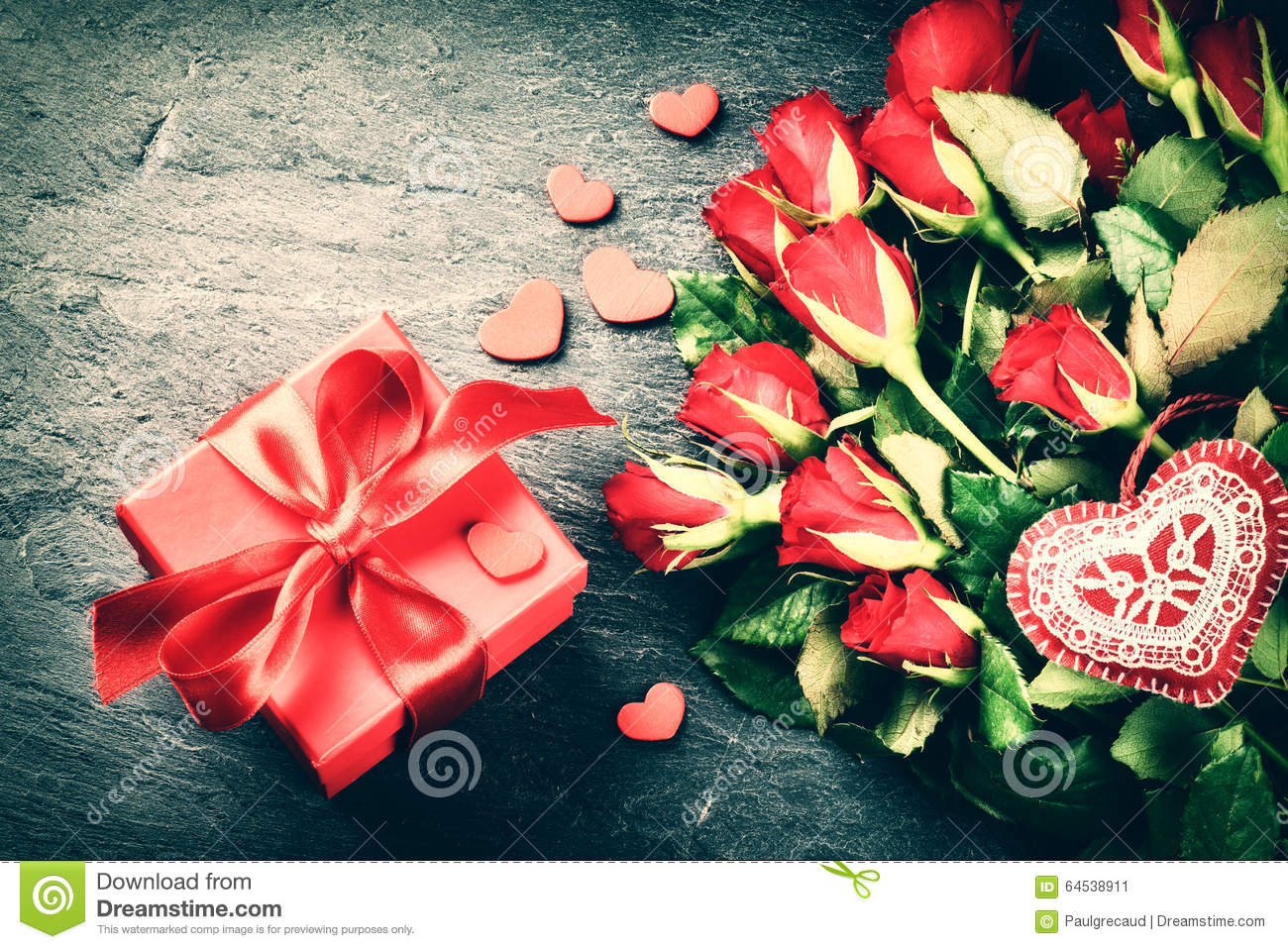 Bouquet Of Red Roses With Decorative Heart And Gift Box