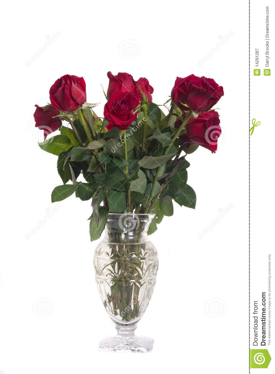 Bouquet Of Red Roses In A Glass Vase Stock Image - Image ...