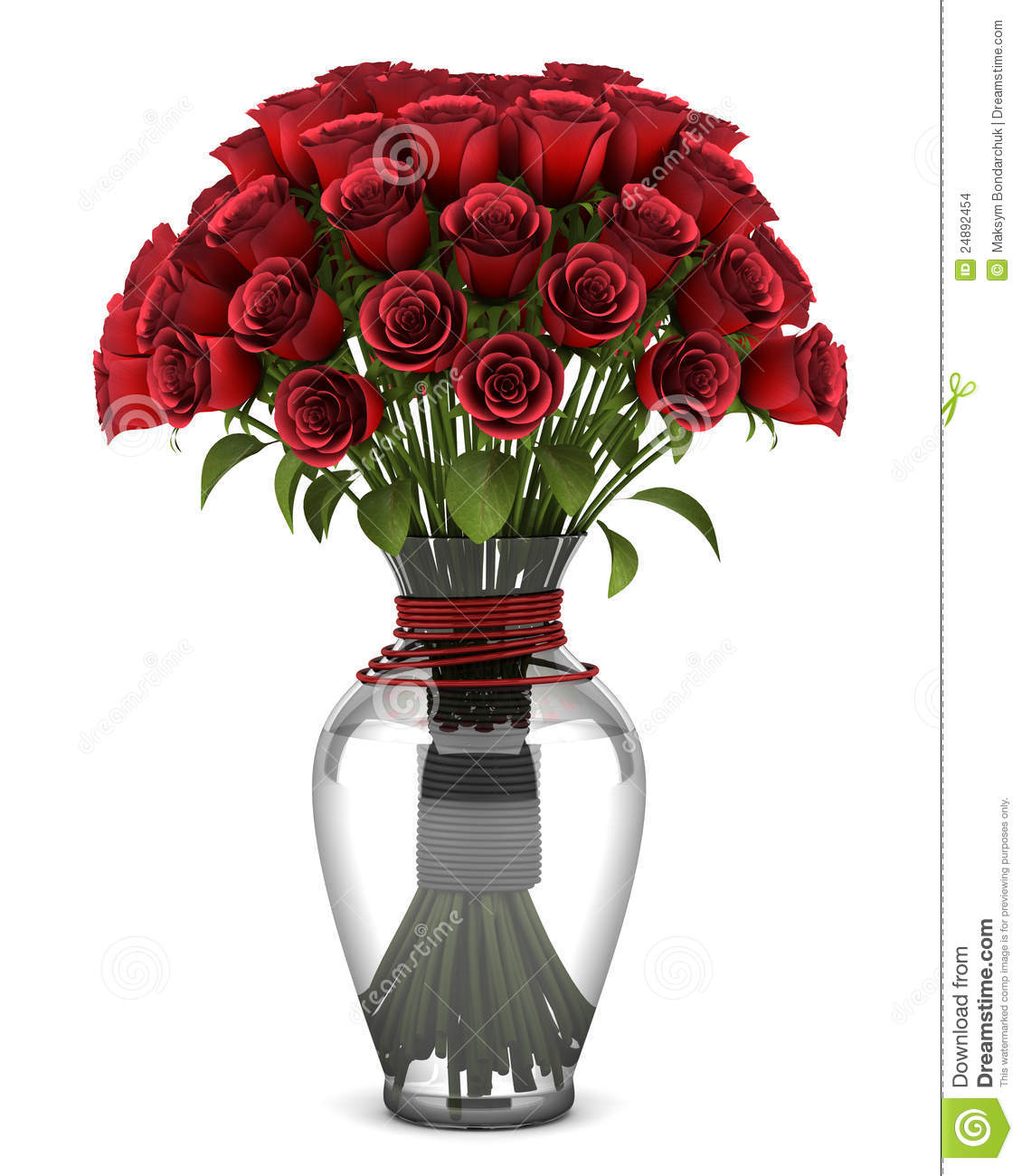 Bouquet Of Red Roses In Vase Isolated On White Stock ...