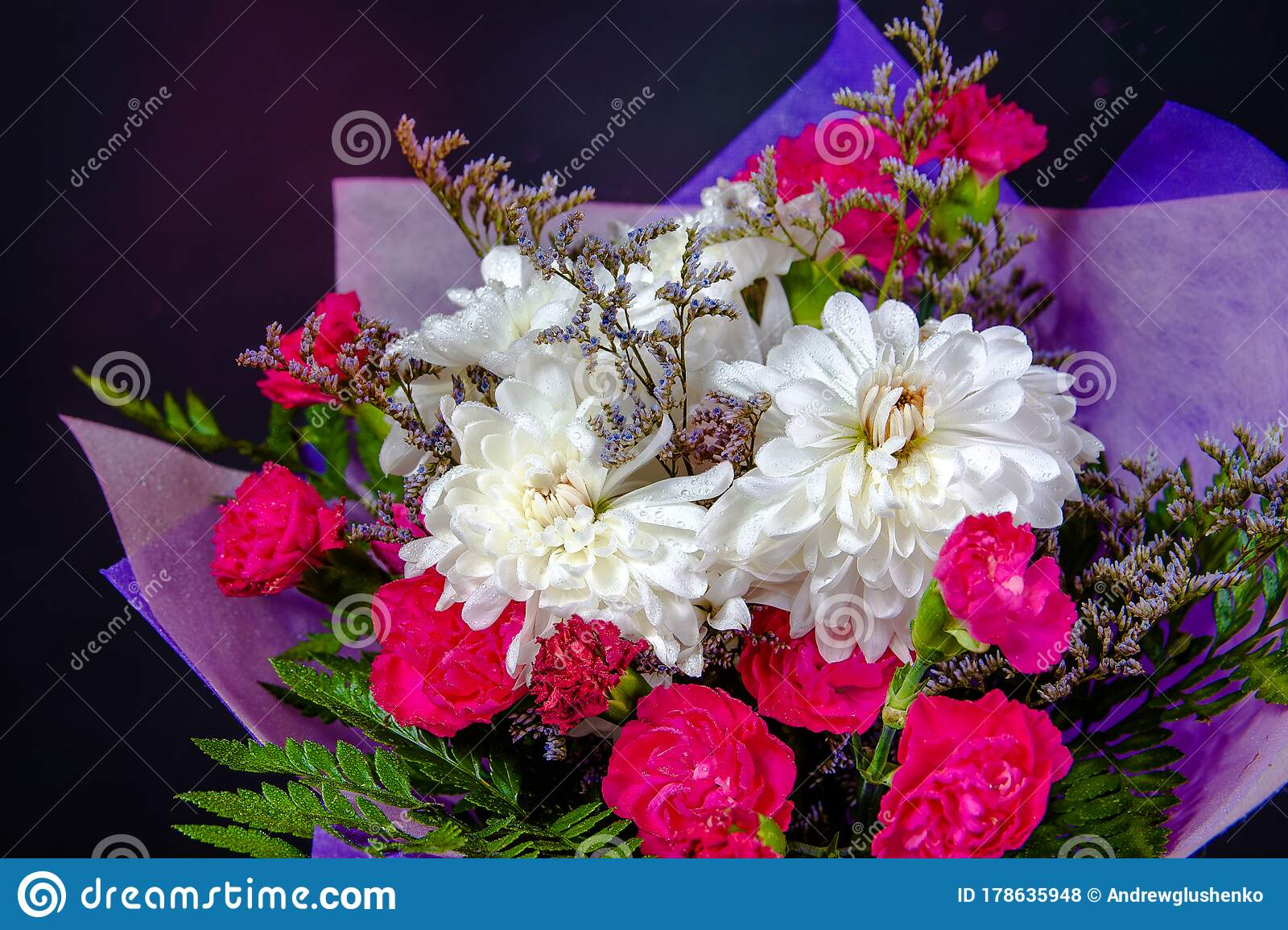 Bouquet Of Red And White Flowers In Purple Paper Close Up On A Black Background Stock Photo Image Of Green Plant 178635948
