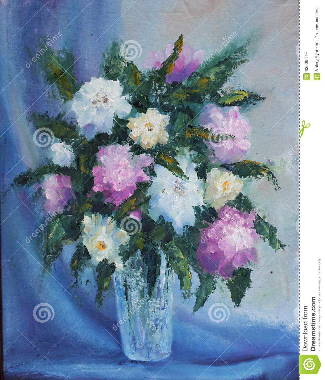 Bouquet Red And White Flowers In A Vase Still Life Stock Illustration I