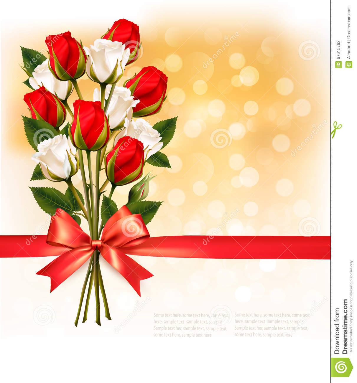 Bouquet Of Red And White Roses With A Red Ribbon On Gold Booker