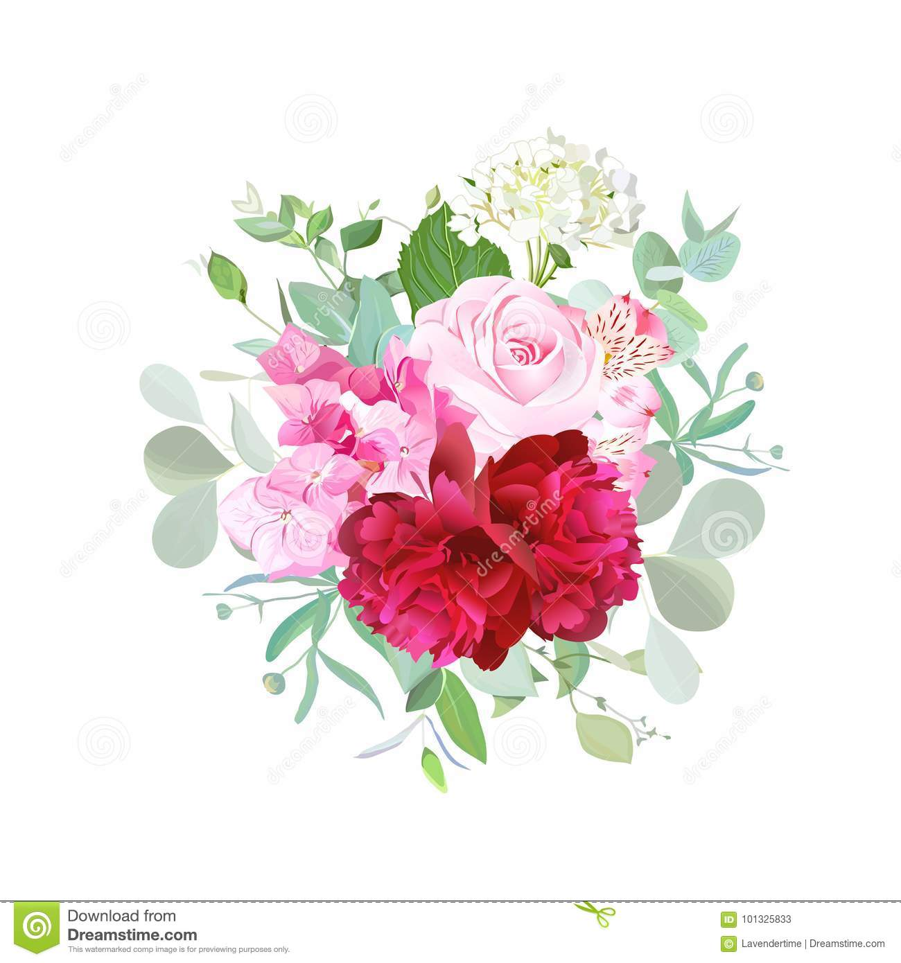 Bouquet Of Rose, Burgundy Red Peony, Pink And White Hydrangea Stock ...