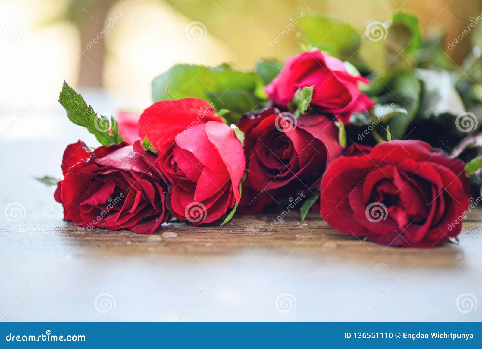Bouquet Rose Rouge De Fleur Rose Et Amour De Jour De Valentines De