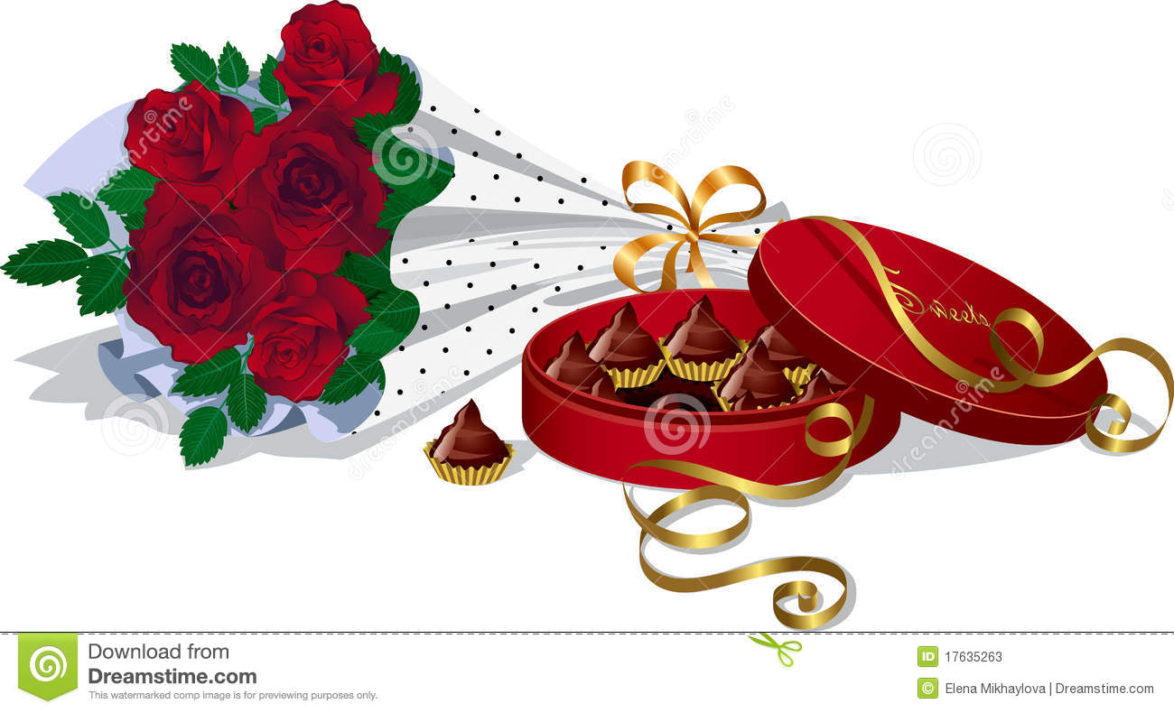 Bunch of red ro... Box Of Chocolates Clip Art