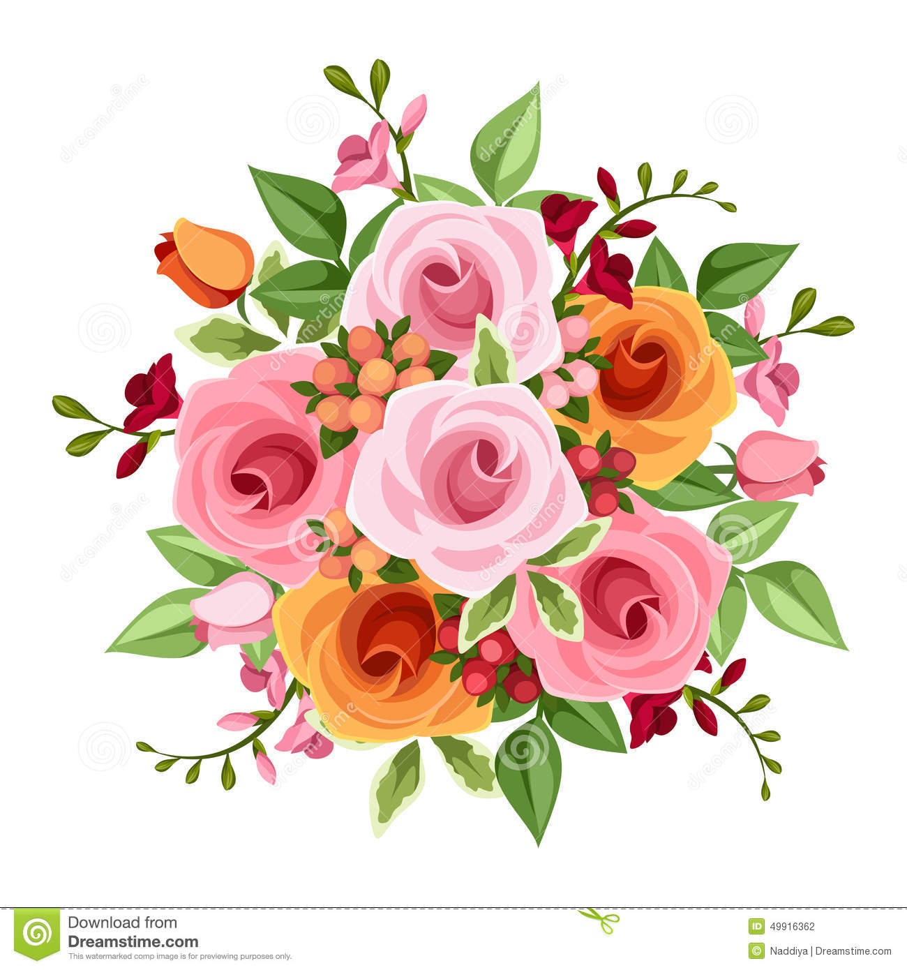 bouquet of roses and freesia flowers vector illustration stock vector image 49916362. Black Bedroom Furniture Sets. Home Design Ideas