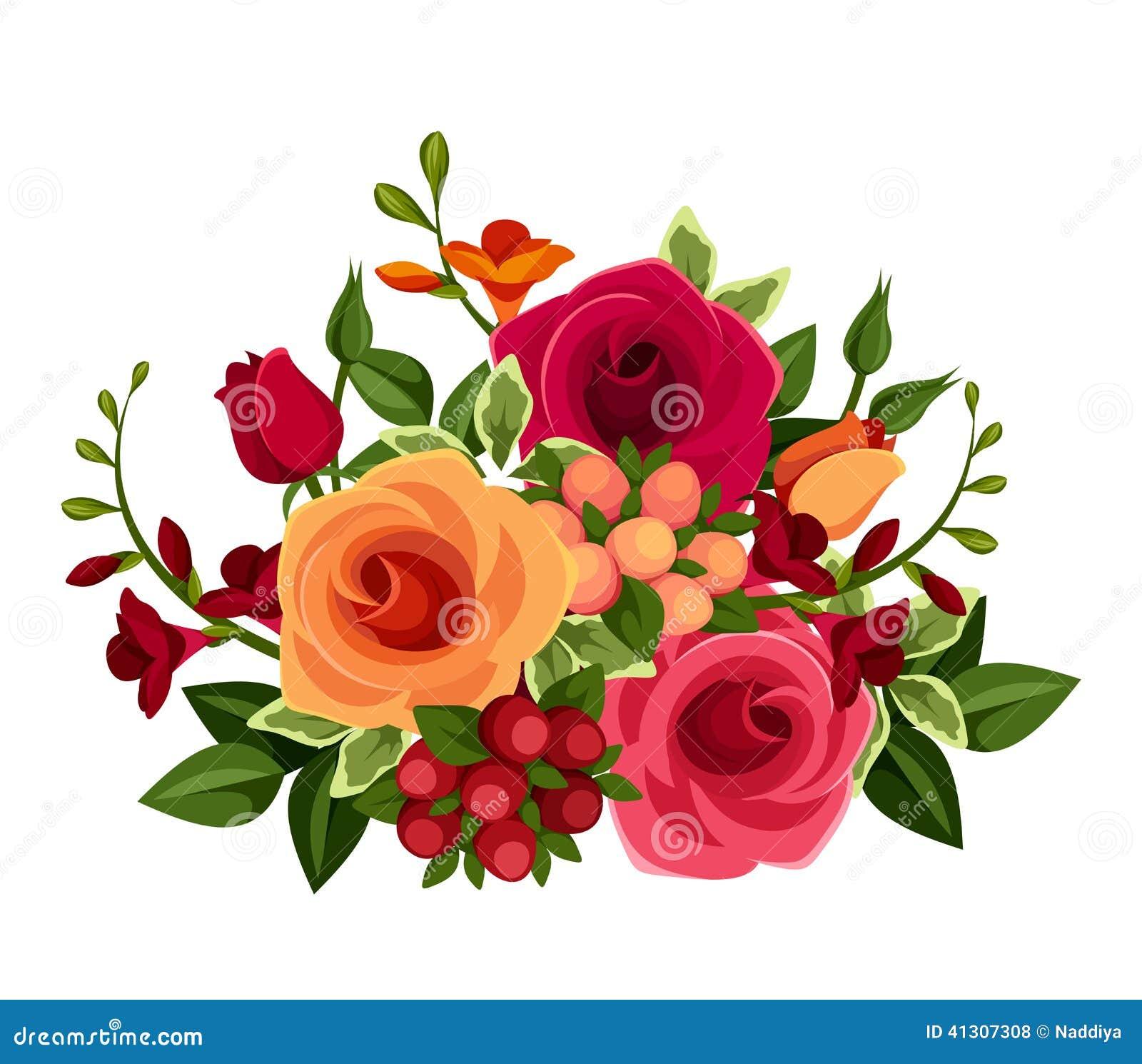 Bouquet of roses and freesia flowers vector illustration for Bouquet de fleurs jaunes