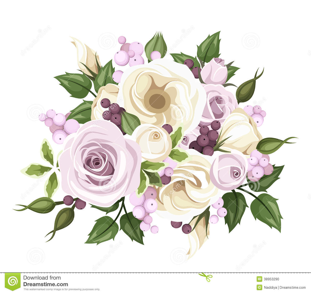 Bouquet Of Roses And Lisianthus Flowers Vector Stock Vector