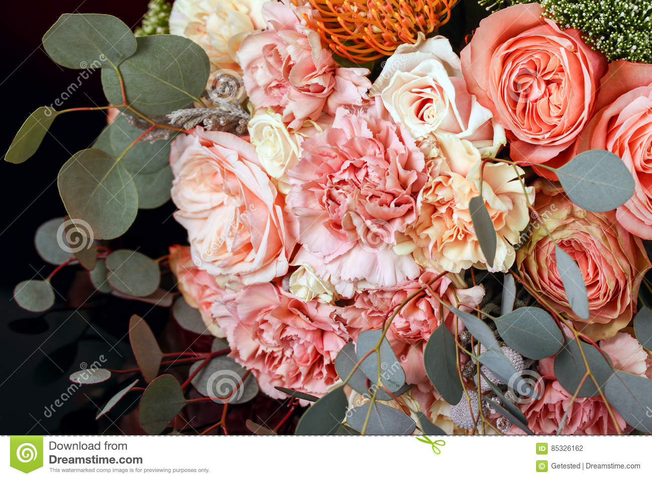 Download Bouquet of roses stock photo. Image of farewell, colour - 85326162