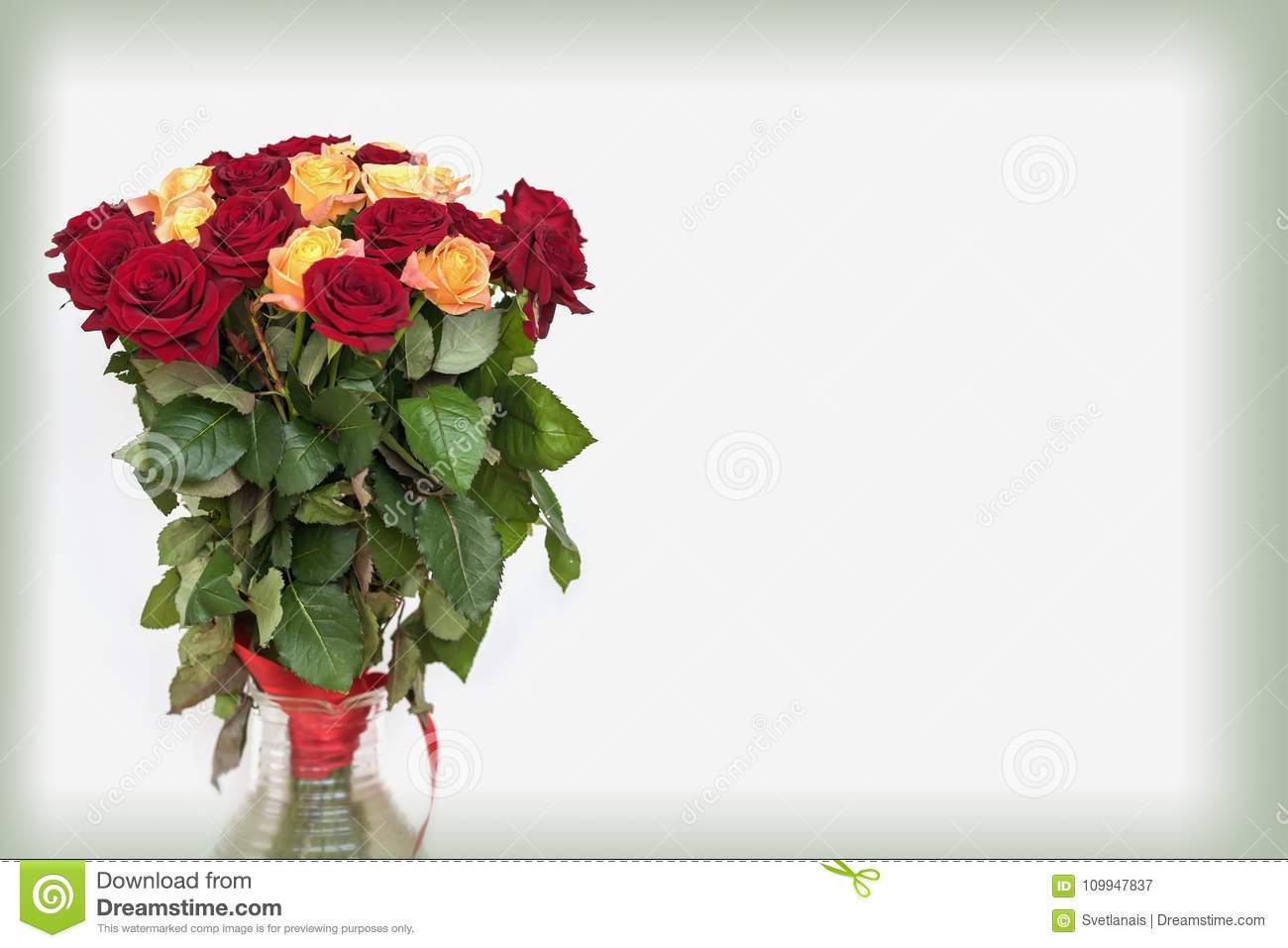 Bouquet Of Roses Of Bright Colors For Beloved Light Background