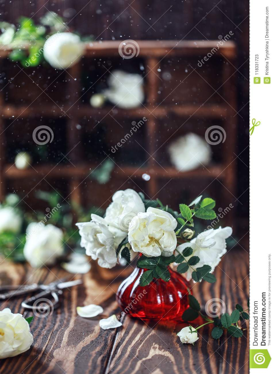 Bouquet Of Roses In A Vase On Wooden Rustic Background Flower Composition Stock Image Image Of Marriage Bouquet 118331723