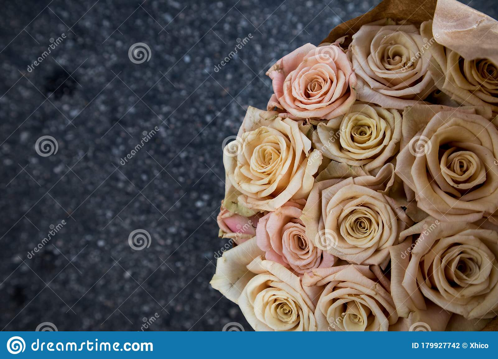 Bouquet Of Roses In White Cream Blush Pink Stock Photo Image Of Color Bouquet 179927742