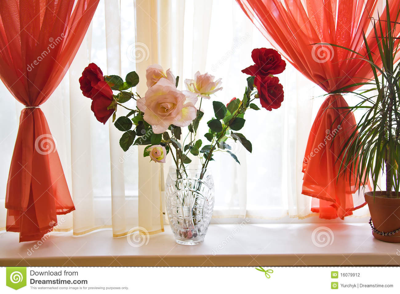 Bouquet Of Roses On Window Sill Stock Photography - Image: 16079912