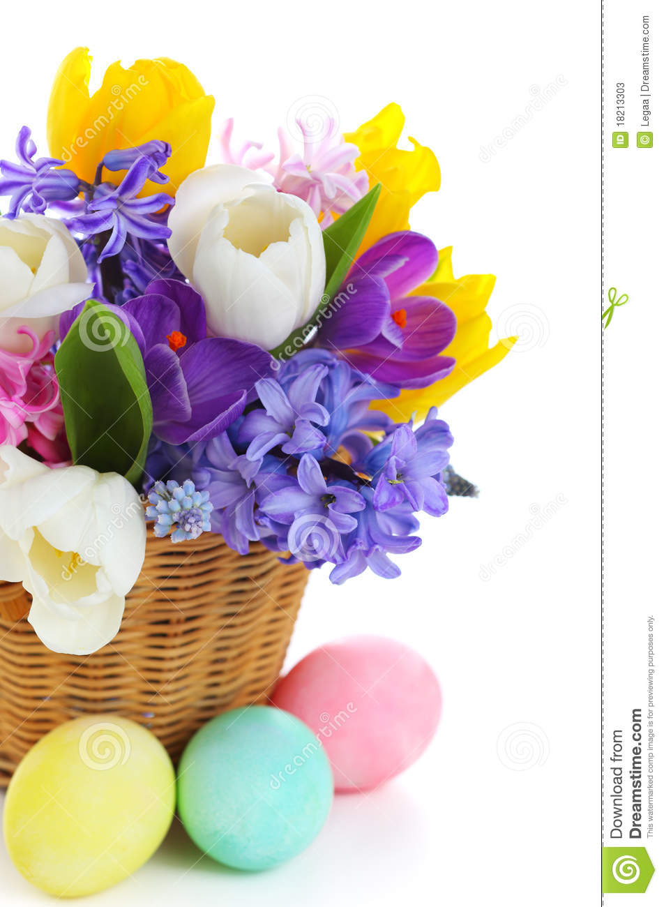 Bouquet Of Spring Flowers In Basket With Eggs Stock Image Image Of