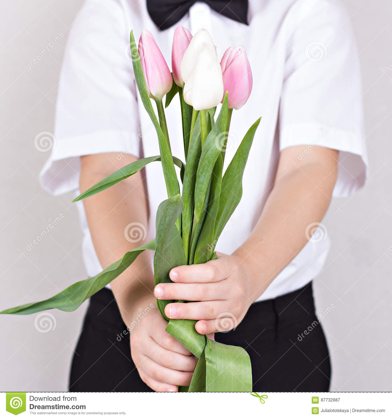 Bouquet Of Spring Flowers In Childrens Hands Stock Image Image