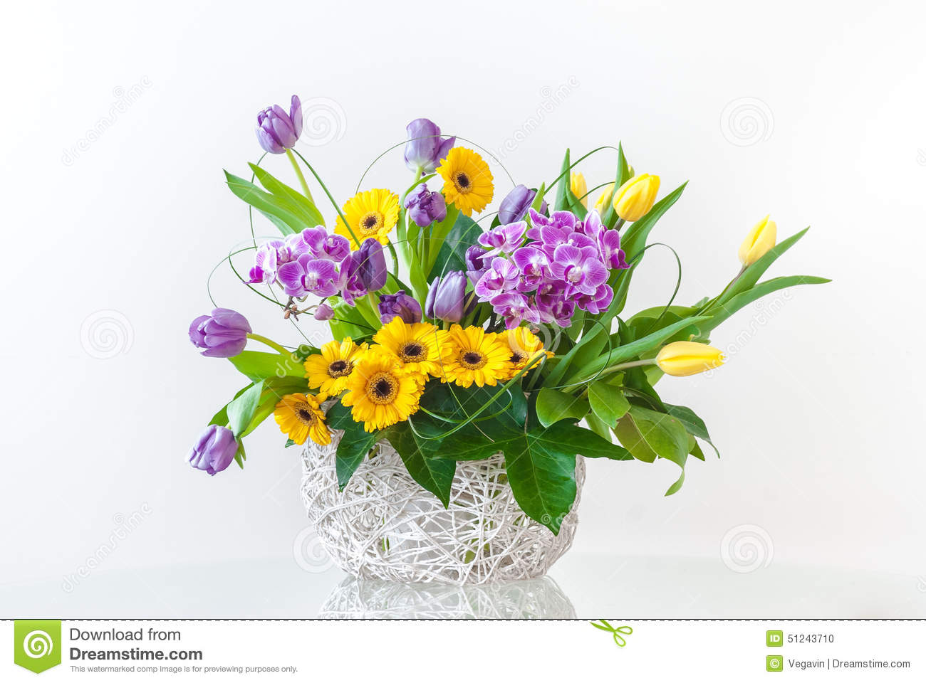 Bouquet Of Spring Flowers Stock Photo Image Of Hiacynt 51243710