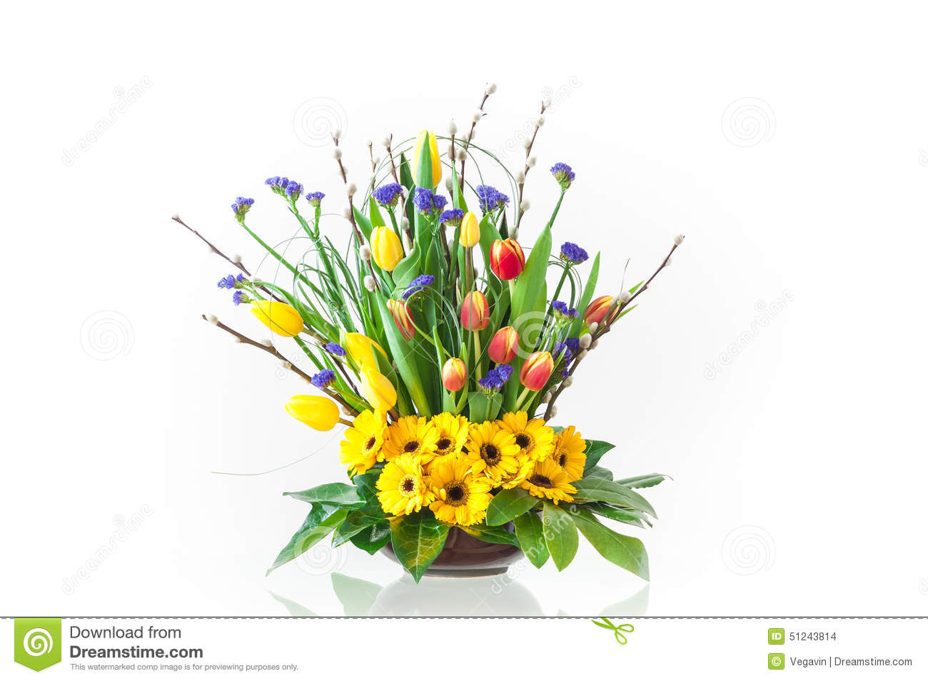 Bouquet of spring flowers stock photo image of fresh 51243814 bouquet of gerberas tulips and hiacynts on white background typical spring and easter flowers izmirmasajfo