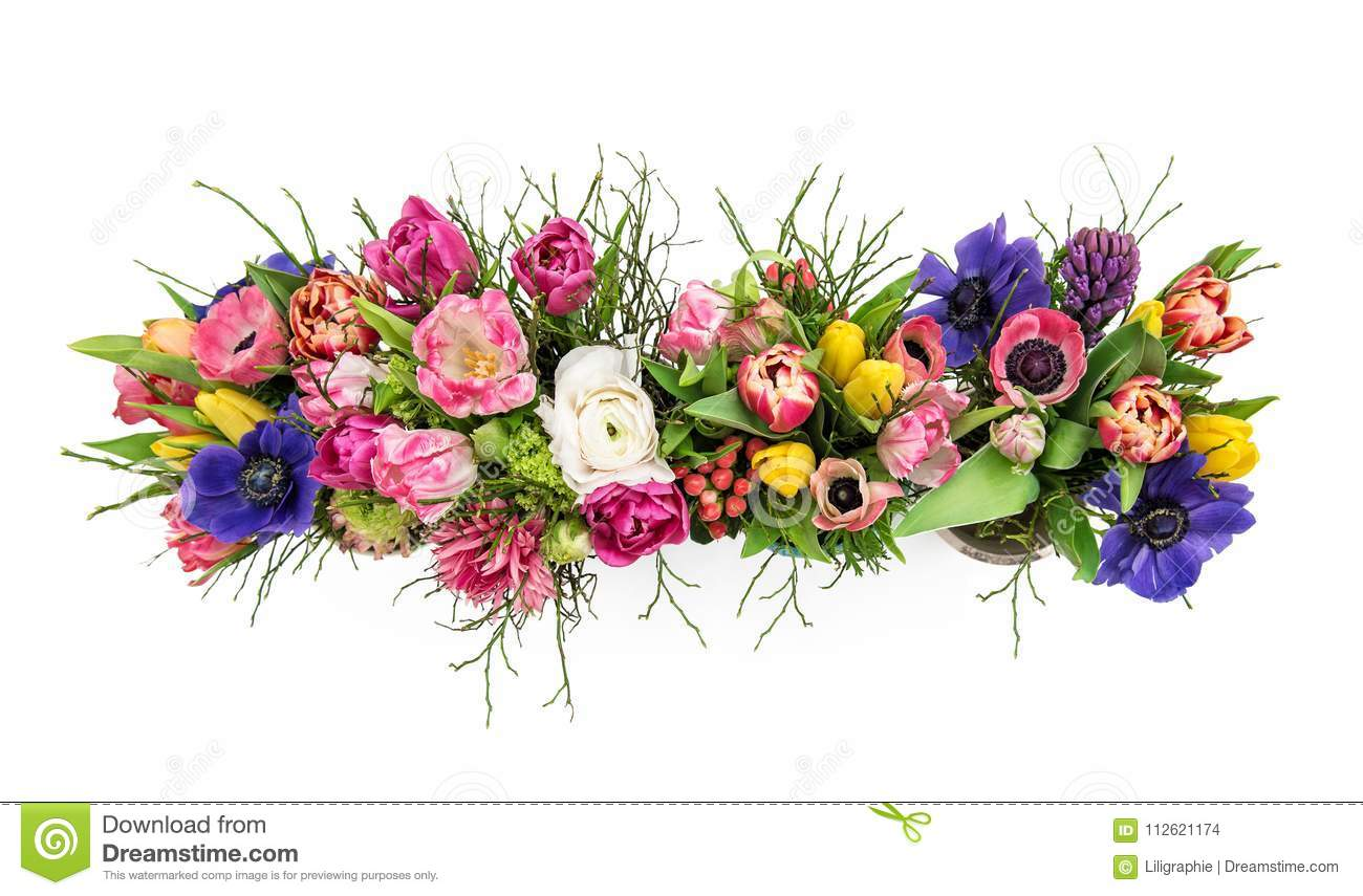 Bouquet Spring Flowers Isolated White Background Top View Stock Photo Image Of Bloom Present 112621174